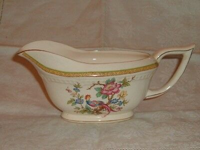 Vintage Crown Clarence Staffordshire Pottery Gravy Sauce Boat Asiatic Pheasant