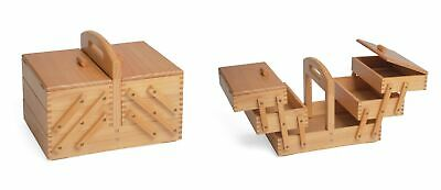 Medium Wooden Cantilever Sewing Basket - 3 Tier Sewing Craft Box Light