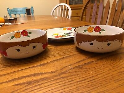 Vintage Interpur Boy and Girl Stacking; 1 Plate and 2 Bowls