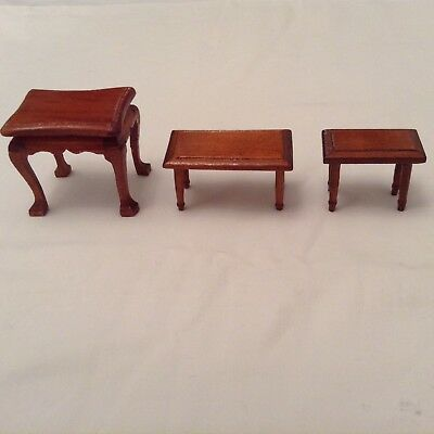 Dolls House Job Lot Of 3 Wooden Side Table Old Style