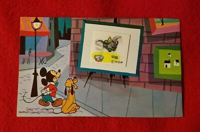 1950's Mickey Mouse Dumbo & Pluto Lenticular Disneyland Postcard from Art Corner