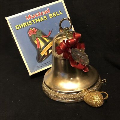 VINTAGE CHRISTMAS Tin Metal MUSICAL Pull-String GOLD BELL 'White Christ ' w/ Box