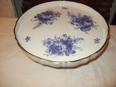 Beautifully decorated floral blue & white Antique French porcelain cake stand
