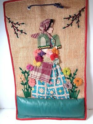 Vintage FABRIC LADY Pincushion Wall Hanging~Collage of vintage fabrics and yarns