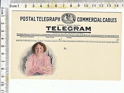 TELEGRAM - POSTAL TELEGRAPH COMMERCIAL CABLES Theochrom - Pretty Girl in Pink