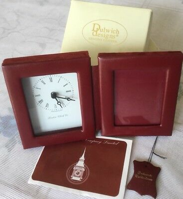 New Clock & Picture Frame In Real Leather In Original Box By Dulwich Designs