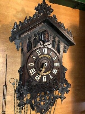 Large Old Wooden Barvarian Cuckoo Clock
