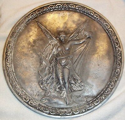 Vintage Nike of Paeonios Olympia Greek Goddess of Victory 12 Inch Metal Plate