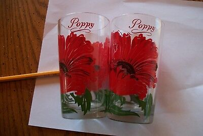 LOT OF 2 Vintage POPPY  Peanut Butter Glasses with Red FLOWERS
