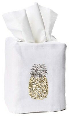 """HEIRLOOM: Cube Tissue Box Cover,  Embroidered Pineapple, 100% Linen 4.5"""" x 5"""""""