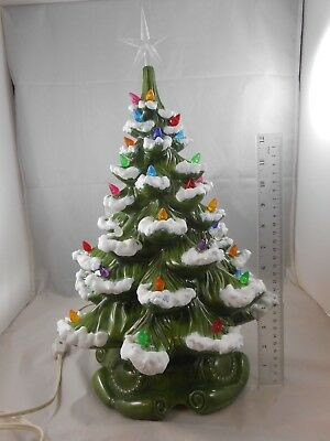 Vintage Ceramic Christmas Tree Atlantic Mold.Vintage Atlantic Mold Lighted Flocked Ceramic Christmas Tree Clear Star 18 Inch