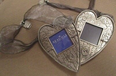 Vintage Pair Of Seagull Pewter Rose Heart Hanging Picture Frames Cameos  1999
