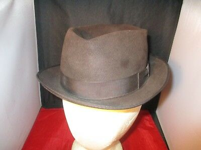 Vintage Mens Pinch Hat Black Fedora Dobbs