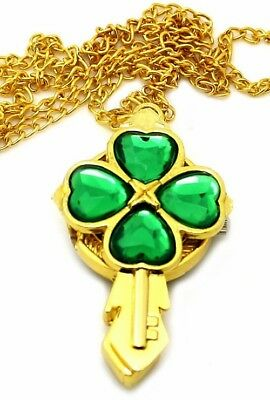 Celtic Irish Watch Necklace Cross Key w Shamrock Green Stones Gold Plated Chain