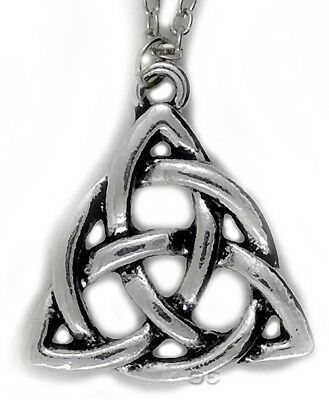 Celtic Irish Triquetra Trinity Knot Pendant Necklace w Silver Chain Rounded