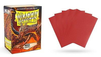 Dragon Shield - Mat Red 100 Protective Sleeves Cases Standard Card Holder