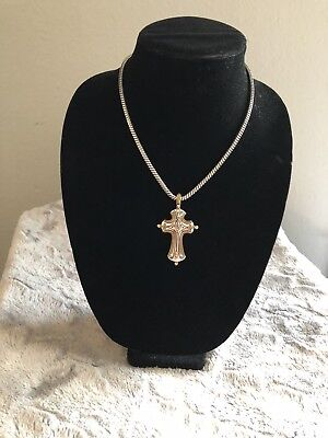 "Brighton Retired Vine Cross Large Silver/Gold 16"" Necklaces With A 6"" Extension"