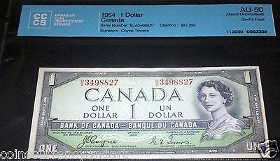 Devils Face 1954  Bank Of Canada $1  Almost Uncirculated