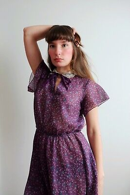 Vintage 70s Dress Does 30s 40s 1970s 1930s 1940 Semi Sheer Xs Small Medium Large