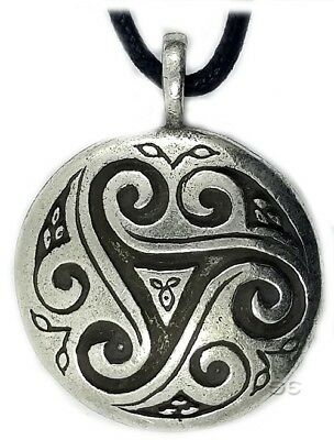 Celtic Irish Pendant Necklace Triskele Shield Knot Trinity Silver Adjustable