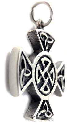 Celtic Irish Pendant Necklace Unity of Life Iona THICK Cross Knot Stainless