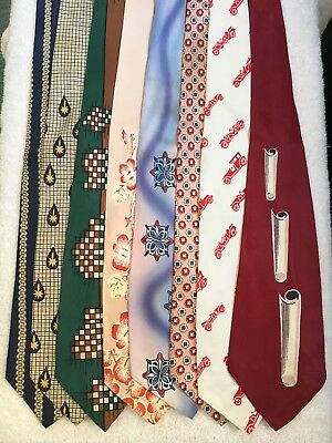 1940s - 1950s Lot of 8 Vintage Deco Swing Neckties Ties Currie Hand Painted