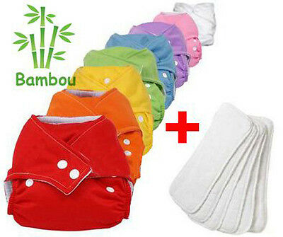 Lot 8 Layers Washable Bamboo + Inserts Bamboo TE1 Adjustable Colors In Choose