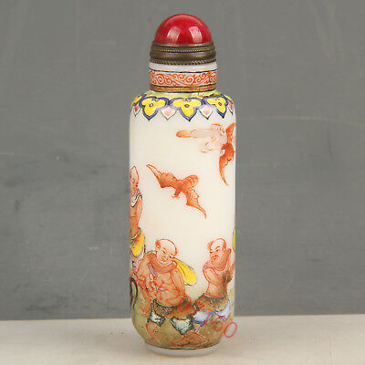 Chinese Exquisite Handmade people bat pattern Glass snuff bottle
