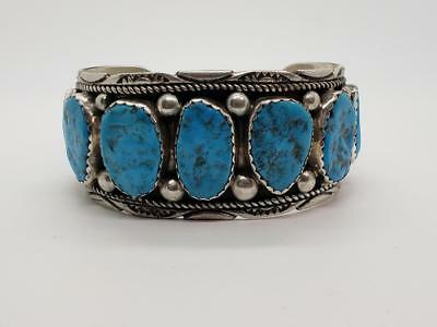 Large Vintage Sterling Silver & Turquoise Cuff Bracelet Old Pawn Navajo Yazzie
