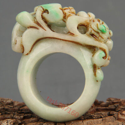 Chinese Exquisite Hand-carved brave troops Carving jadeite jade Ring