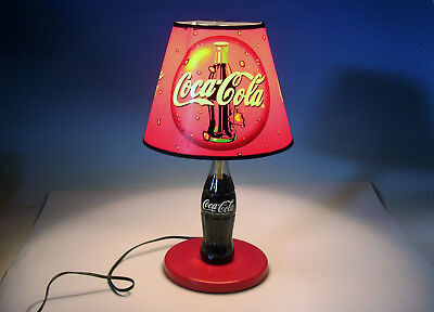 Vtg 1997 Coke Lamp with Shade Coca Cola Lighting Advertising
