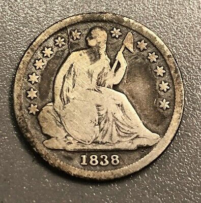 1838 Seated Liberty Silver Dime No Drapery Large Stars Very Rare Low Mintage WOW