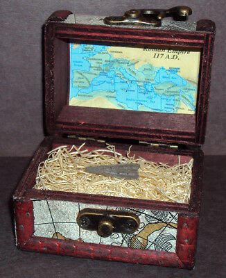Ancient Roman Empire Bronze Arrowhead with Display Chest! Circa 100 - 300 A.D.
