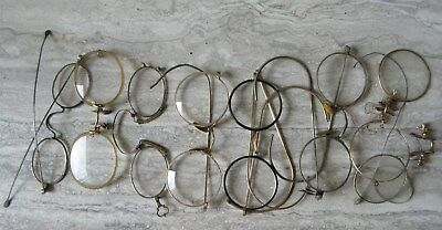 7 Pair Antique Wire Rim Eye Glasses Gold Filled and Steel for Parts Repair