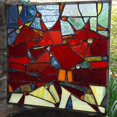 Abstract Stained Glass Window Geometrical Contemporary Suncatcher  Panel OOAK