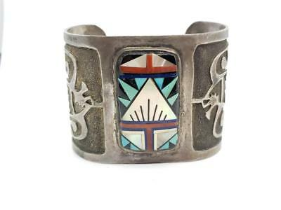 Vintage Sterling Silver, Turquoise, Assorted Stones Inlay Cuff Bracelet P Lucid