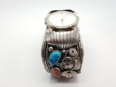 Vintage Sterling Silver, Coral, & Turquoise Watch Cuff Bracelet Navajo A Edsitty