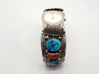 Ornate Vintage Sterling Silver, Coral & Turquoise Watch Cuff Bracelet V Yazzie