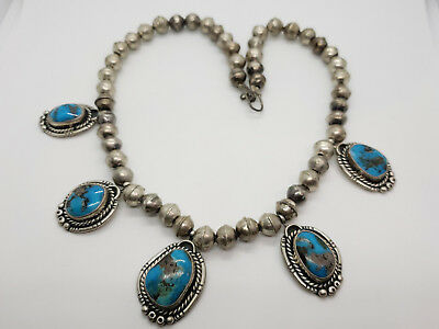 Vintage Sterling Silver & Turquoise Necklace Navajo Old Pawn