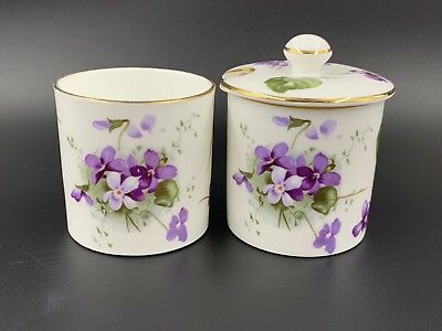 Hammersley Victorian Violet Jam Jars with lid Bone China England