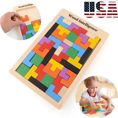 Wooden Tangram Brain Teaser Puzzle Toys Tetris Game Colorful Educational Toy