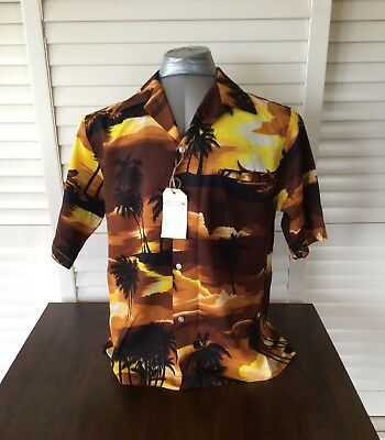 Vintage Hawaiian Shirt classic sunset brown design by Kai Nani