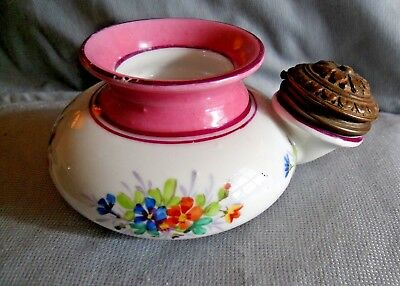 Antique Gorgeous Hand Painted Ink Well Donut Bronze? French? - Rare Piece