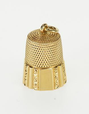 14K Ornate Design Scroll Trim Sewing Tool Thimble Yellow Gold  *19