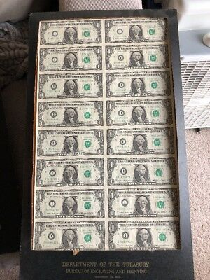 Uncut Sheet 16 One Dollar Bills $1 1985 US Currency Dept of the Treasury