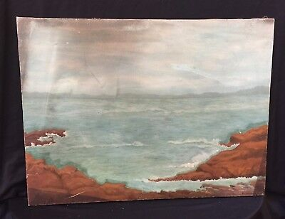 1907 Antique Oil painting artist signed K. Carothers Mist over ROCKY SHORE