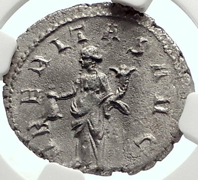 TRAJAN DECIUS Authentic Ancient Silver 250AD Roman Coin UBERITAS NGC AU i69080