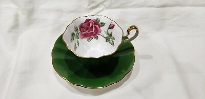 Adderley Bone China Tea Cup and Saucer Green/ Pink Roses Gold Trim