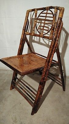Mid Century Modern bamboo chair rattan wicker chippendale vintage MCM VTG rare
