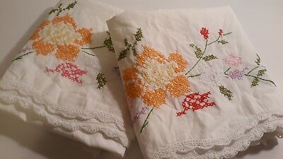 Vintage embroidered pillowcases crochet